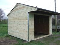 mobile 14 x 12 field shelter on steel skids apex roof kick boards stable gutter to front used