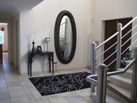 Stunning contemporary oval glass crystal mirror