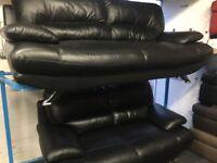 New/Ex Display Black Leather Samara 2 Seater + 3 Seater Sofas