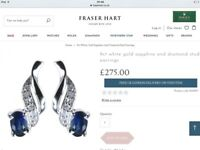 Fraser hart sapphire and diamond white 9 ct gold earrings