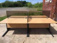 BANK OF 4 HIGH QUALITY WHITE OAK DESKS AND TINTED PERSPEX PRIVACY SCREENS