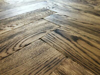 Tumbled Rustic Burnt Oak Parquet Flooring Blocks Natro Finish size 16x70x280mm