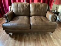Wade leather 2 seater settee and chair