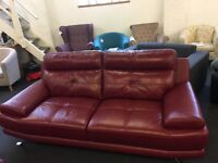 New Designer Red Top Grain Leather 3 Seater Sofa And Chair