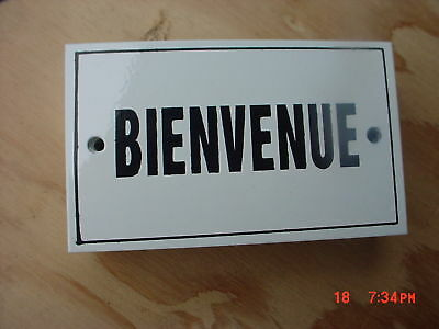 (French Enamel Metal Sign Plaque  BIENVENUE   Welcome)
