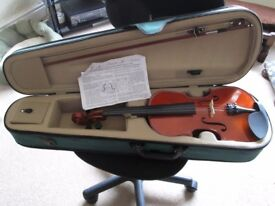 ANTONI VIOLIN BOW AND CASE 3/4 SIZE WE THINK £45 ONO COLLECT ST HELENS