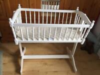 Baby Crib white wooden with brand new Little Green Sheep Company mattress