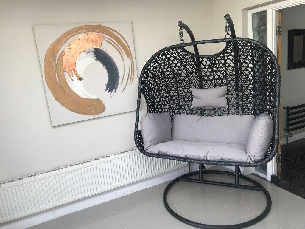 Double Black Rattan Hanging Swing Chair Patio Garden Egg