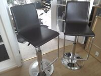 John lewis leather and chrome breakfast bar stools