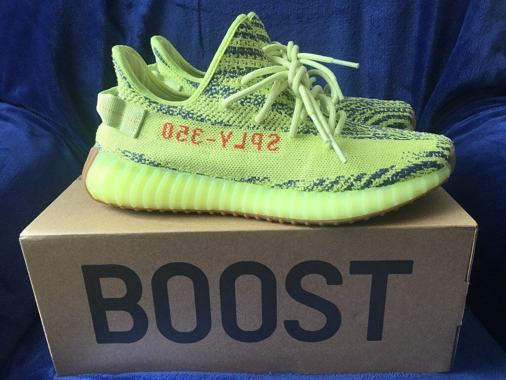 eec97701641d ... free shipping worn adidas yeezy boost 350 v2 semi frozen yellow uk size  9.5 9ee45 20aa8