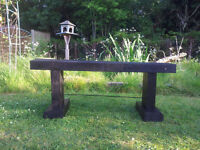 reclamed wood bench with steal brace made in letchworth by CR customs
