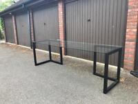 Habitat KUSA Small Dark Stained Oak Trestles - Pair RRP £140 and toughened glass top
