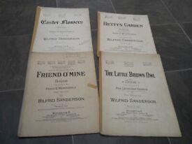 4 Vintage Sheet Music Booklets Music by Wilfrid Sanderson