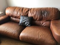 Brown Leather Sofa, Chair Etc