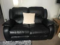 2 Seater & 1 Seater Black Leather Reclining Sofa
