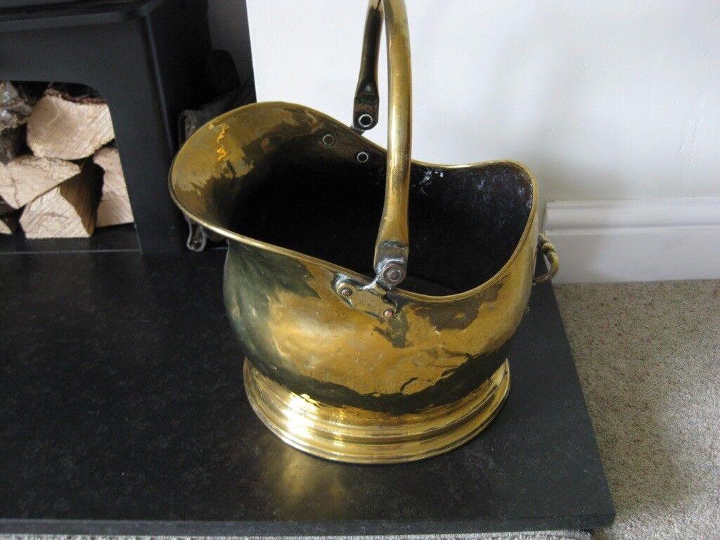 Vintage Antique Brass Fireplace Side Helmet Coal Scuttle
