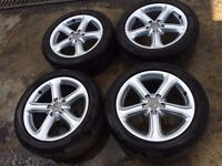 "AUDI A4 B8 2008-2014 17"" INCH ALLOYS WITH GOOD TYRES 225/50/R17 5 SPOKE"
