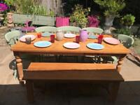 Farmhouse dining table 5 chairs and bench 6ft
