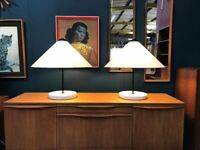 SAFE DELIVERY AVAILABLE - Pair of Snow Italian Table Lamps by Vico Magistretti. Vintage Mid Century