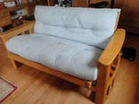 Solid Pine Double Futon Sofa Bed- Duck Egg Blue