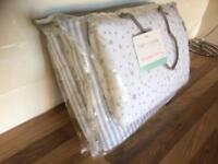 NEW CLAIR DE LUNE GREY STARS & STRIPES ROCKING CRADLE / CRIB QUILT & BUMPER SET.