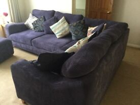 Large Corner sofa and footstool (opens for storage)