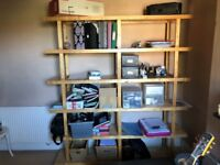 Ikea free-standing shelving unit. Birch finish. 6 shelves. H - 198cm/ W - 185cm/ D - 38cm