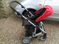 Mamas and Papas Foldable Red Moove Pram/Pushchair Front and rear facing
