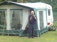 Bradcot caravan awning .To fit 380-2. green and grey large windows and zip out panels.3 years old