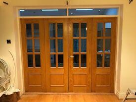 Folding solid wood & glass internal doors