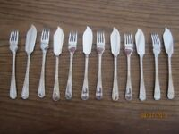 Vintage Cutlery Set. Insignia Plate. 6 pairs of Fish Knives and Forks