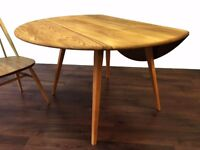 Ercol Blond Drop Leaf Table - Retro Mid Century Modern Vintage