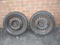 WHEEL AND 185/55/15 SUNITRAC TYRE X 2 MATCHING PAIR 4 STUD VAUXHALL RIMS BIRTLEY AREA