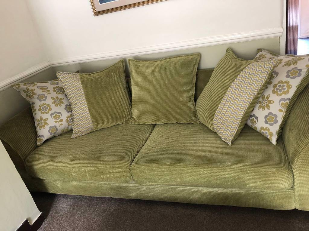 Dfs Lime Green Sofa With Matching Chair And Storage Foot Stool