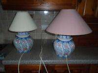 A PAIR of BLUE and PINK TABLE / LOUNGE / BEDROOM LAMPS with LIGHT PINK SHADE, BOTH WORK PERFECTLY