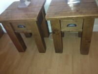 PAIR OF HALO RUSTIC PINE PLANK LAMP TABLES