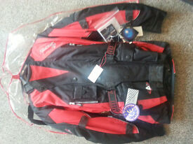 Akito Motorbike Jacket Size Med Black / Red brand new bagged with tags