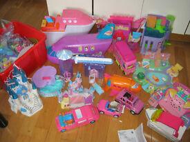 Huge job lot of Polly Pocket items, figures, plane, car, cruise ship, sky lodge, etc