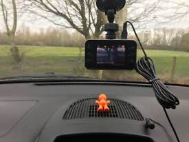 Car dashcam + memory card + charger + mount