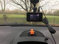 Car Dashcam with memory card, charger, and mount