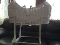 Moses basket, white, Mothercare Apples and Pears, including stand, excellent condition