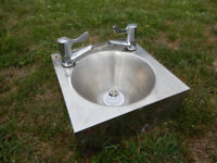 Small metal sink + taps + waste - good for campervan etc