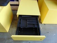 YELLOW OFFICE UNDER DESK PEDESTAL DRAWERS, DRAWERS,WHEELED,FILING