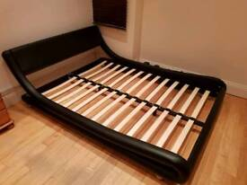 Stylish Faux Leather and Wooden Bed Frame