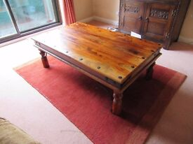 Solid oak coffee table with metal detailing