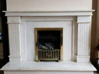 Marble surround and fire