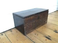Antique Worn Wooden Small Storage Box with lid 1900 Circa Victorian