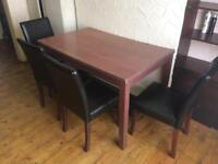 Ikea Dining table and matching 4 leather dining chairs