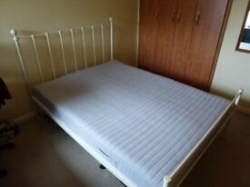 Double bed - metal frame - with mattress