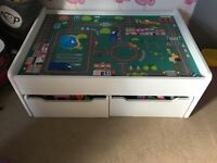Children's play table with storage drawers